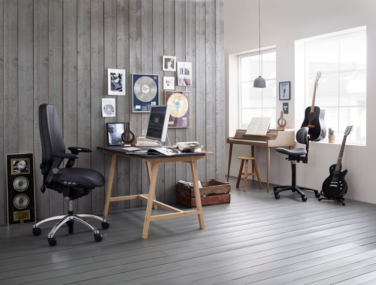 RH Logic office chair for home office, ergonomic design music studio recording artist black leather