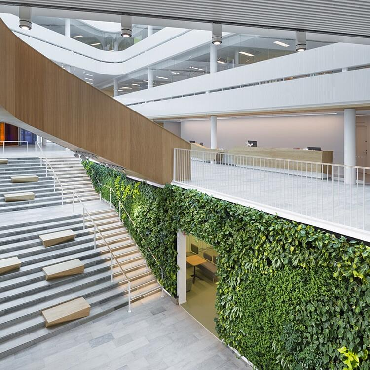 oak staircase and natural interiors at Segerstedhuset