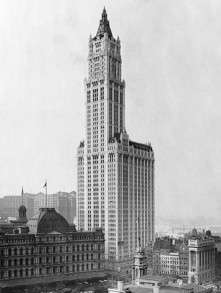 A view of the woolworth building after completion