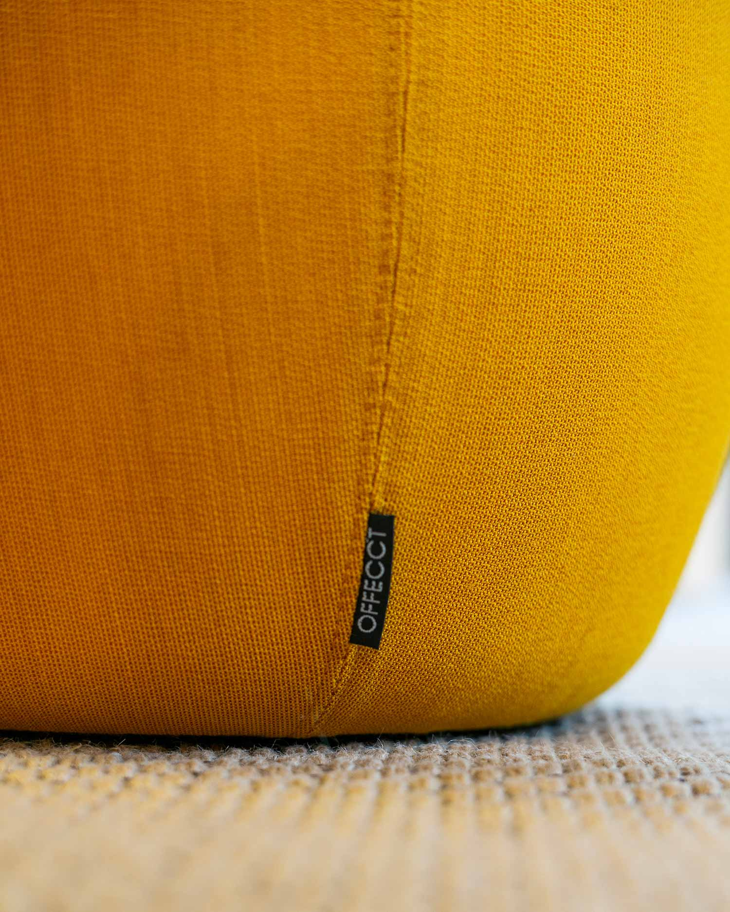 yellow orange offecct carry on stool interior design office furniture close up