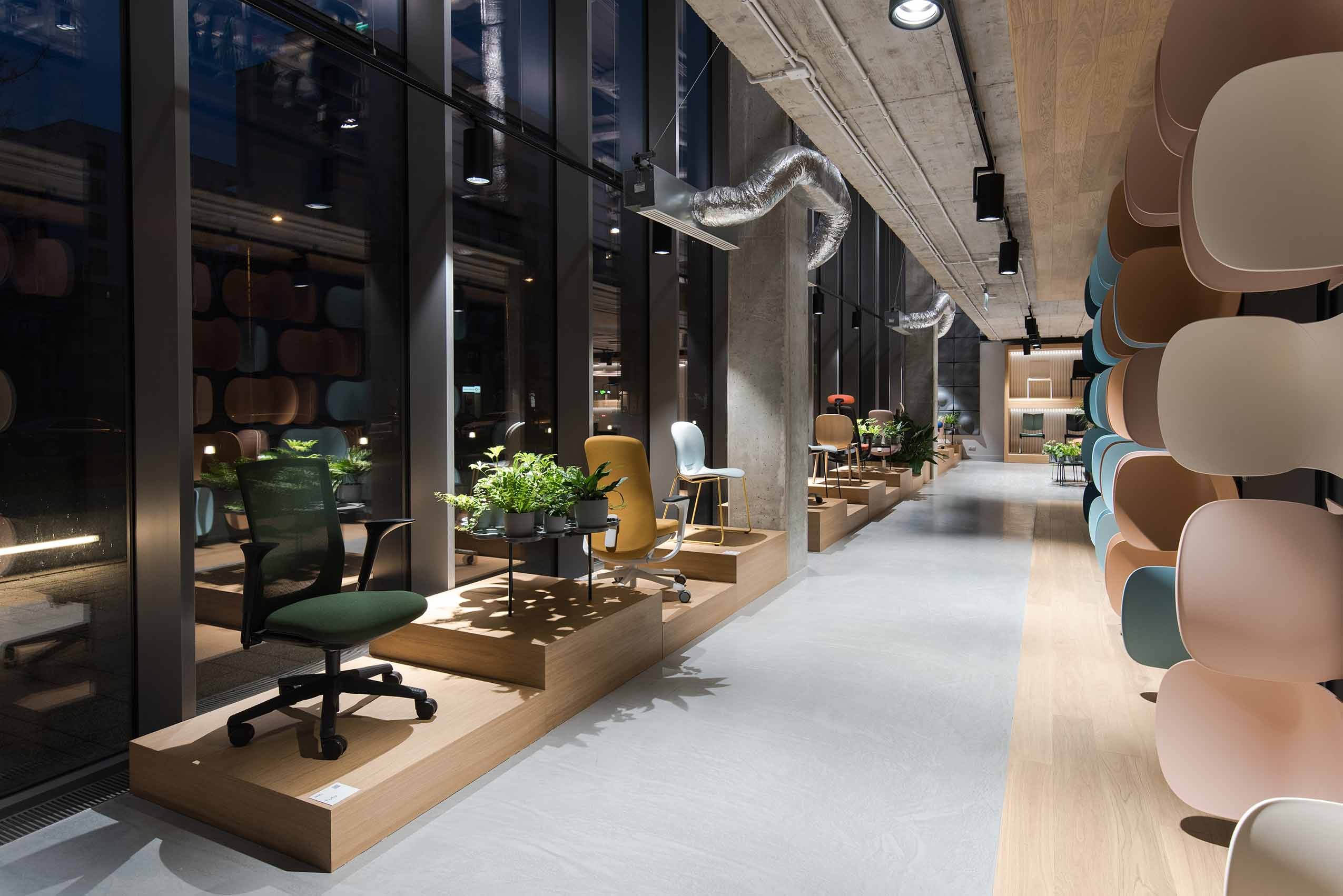 Flokk furniture showroom in poland warsaw scandinavian design led interior architecture desk chairs by HÅG and RBM