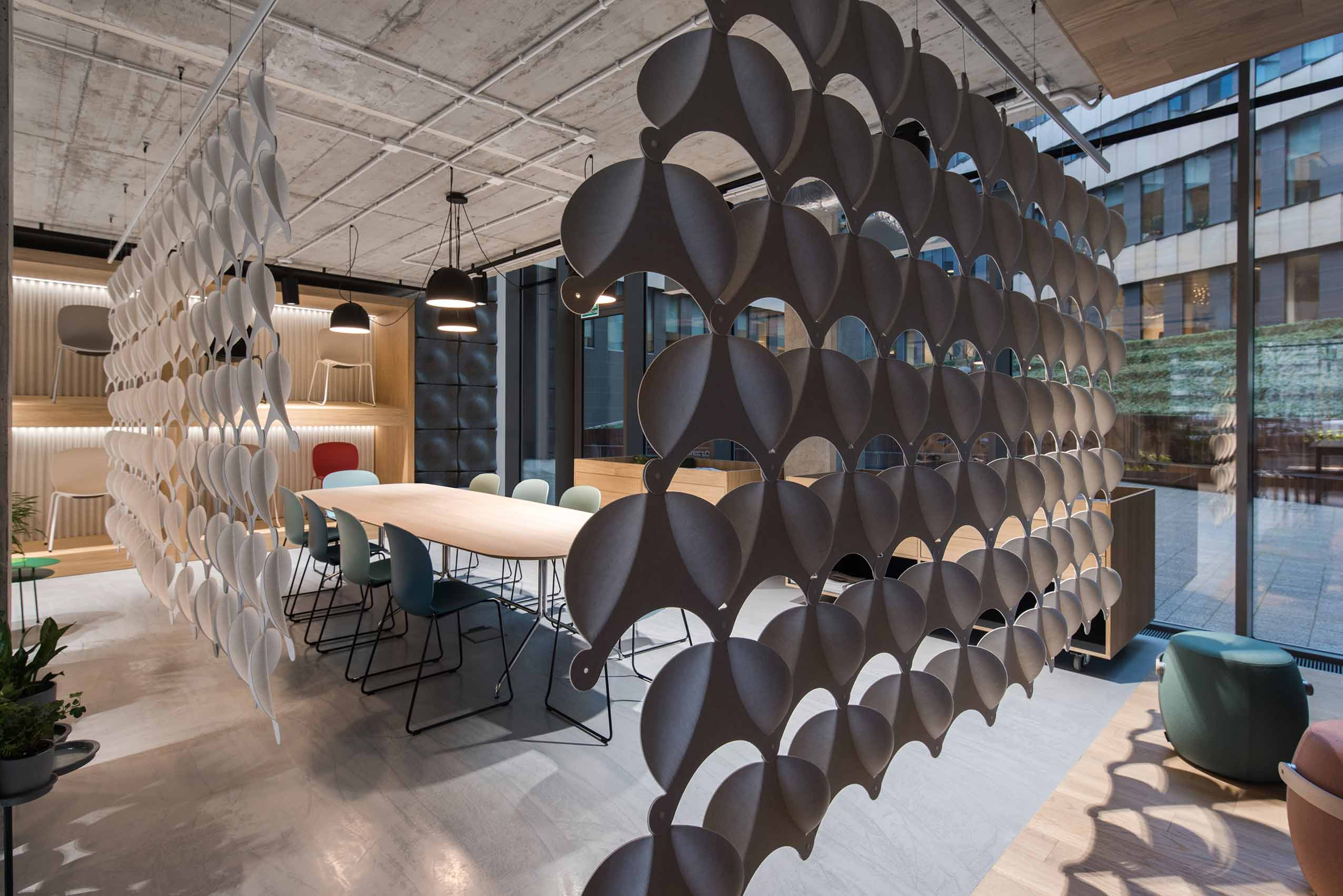 Flokk furniture showroom in poland warsaw scandinavian design led interior architecture offecct acoustic panels white