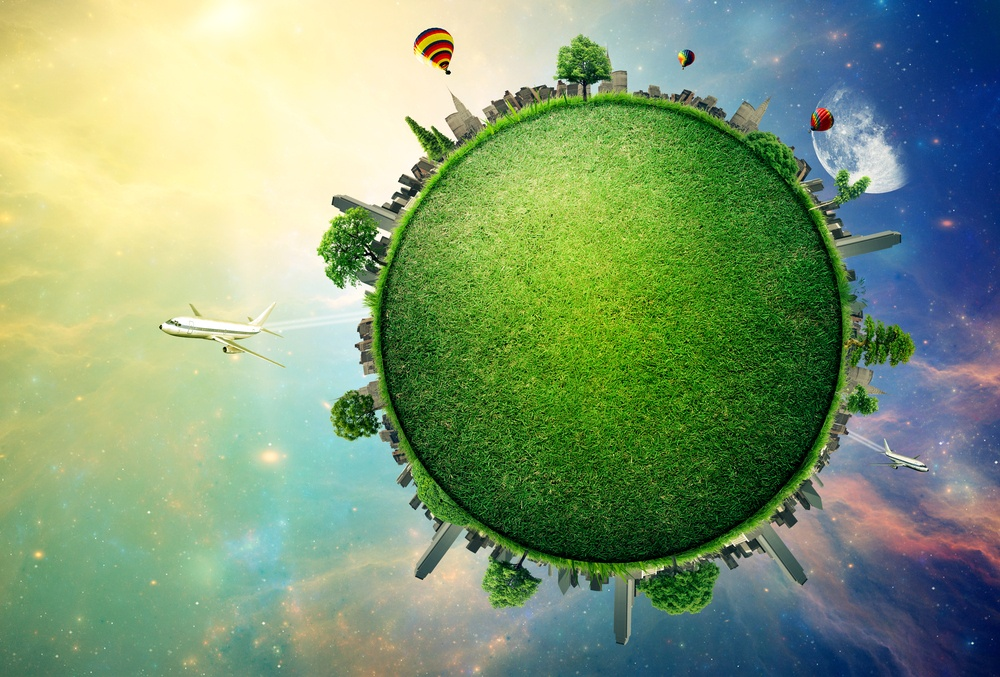 Green planet earth covered with grass city skyline. Sustainable source of electricity, power supply concept. Eco environmentally friendly technology approach. Elements of this image furnished by NASA-1.jpeg